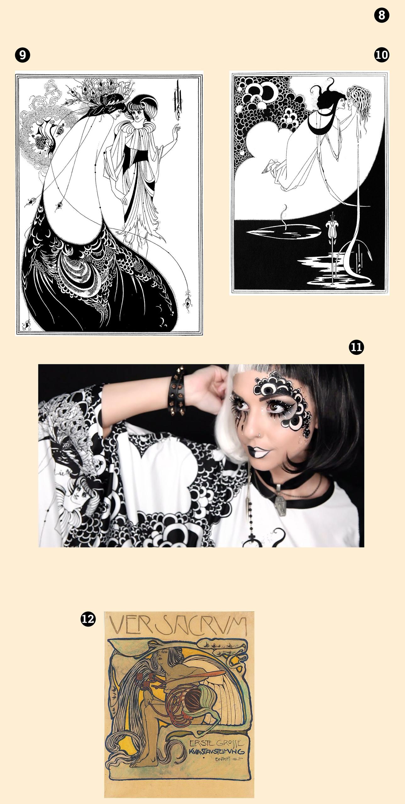 Obraz przedstawia cztery zdjęcia, z czego trzy są rysunkami, a jedno zdjęciem twarzy kobiety pomalowanej na biało-czarno.
