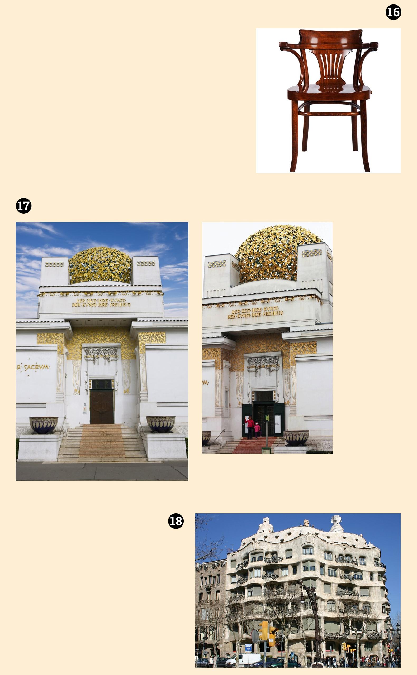 Obraz przedstawia trzy zdjęcia budowli i jedno zdjęcie krzesła. Całość na jasno-żółtym tle.