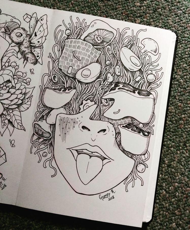 doodle remake Ramen Head - grumpyraven   ello