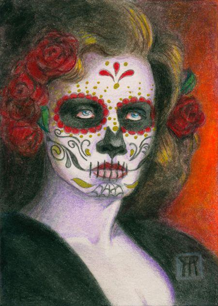 Day Dead Sugar Skull Roses. Col - nightmareartist | ello