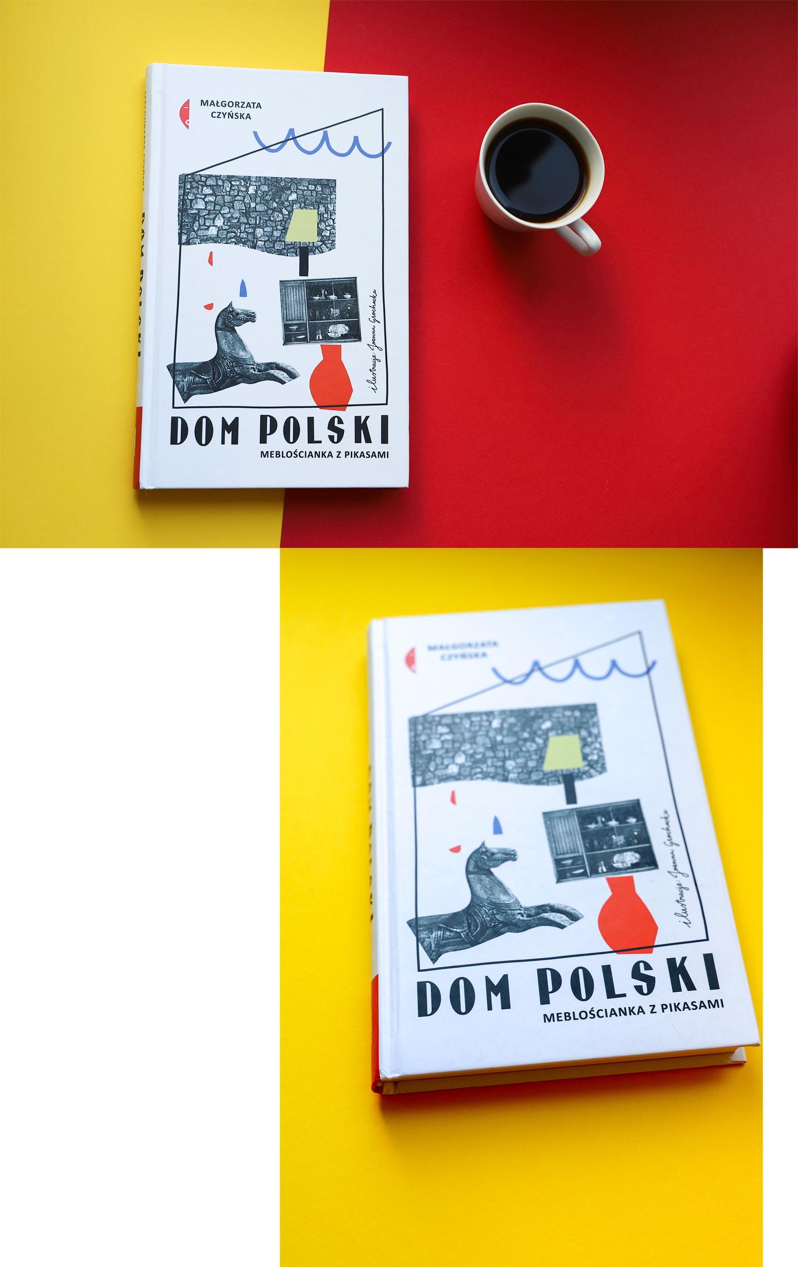 Obraz przedstawia fotografię książki na żółto-czerwonym podłożu. Obok stoi niewielka filiżanka z czarną kawą.