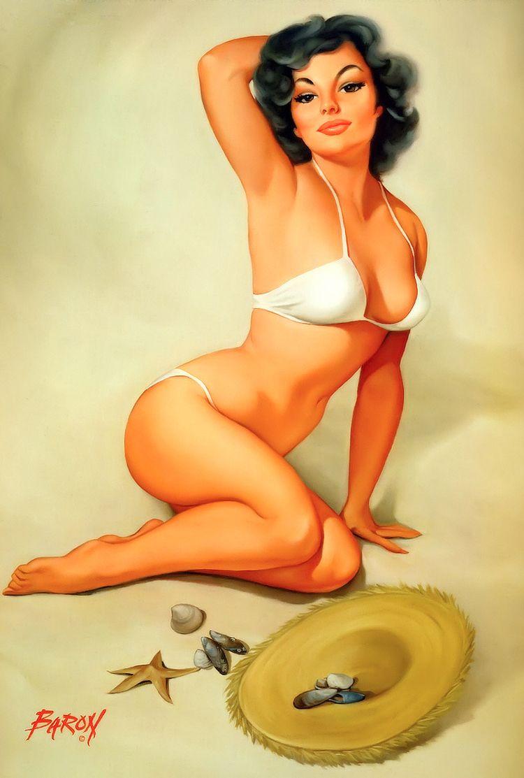 brunette, pinup, bikini, illustration - ukimalefu | ello