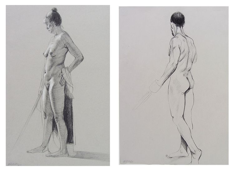 Life Drawings, charcoal Canson - mistyhawkins | ello