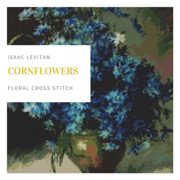 Cornflowers Isaac Levitan cross - theartofstitch | ello