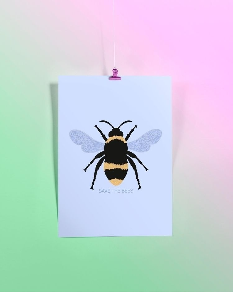 'SAVE BEES - campaign, nature, insect - bethcolecreative | ello