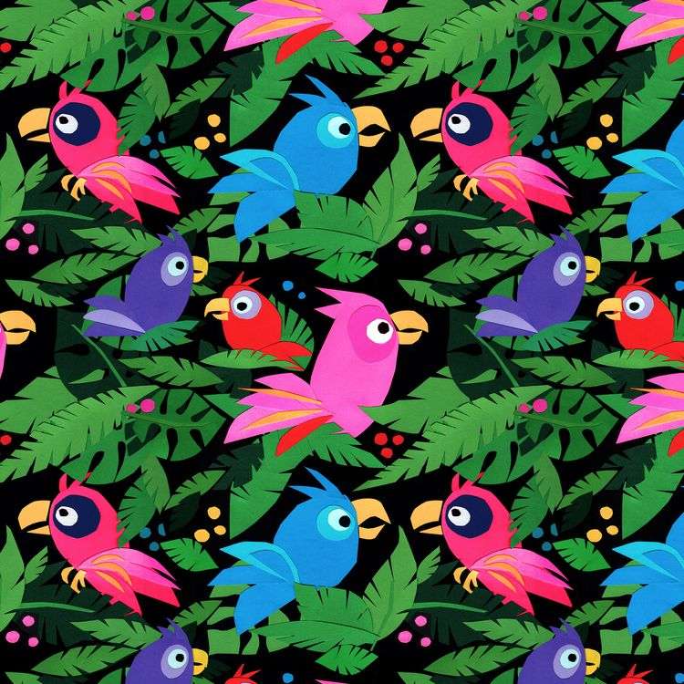 Fabric Pattern Pink Jungle Bird - piakolle | ello