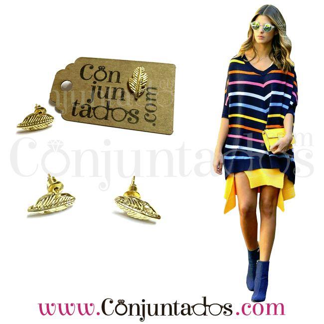 Pendientes dorados Hojas ★ 3'95 - conjuntados_com | ello