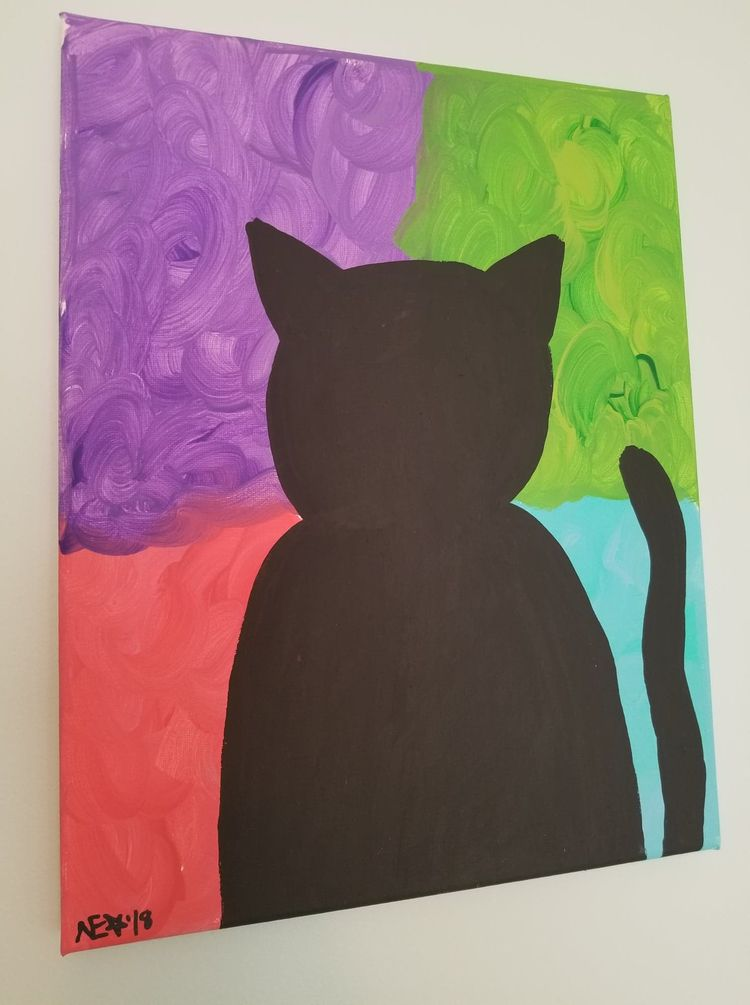 $50 - blackcat, popart, colorful - ohboyflamingsoy | ello