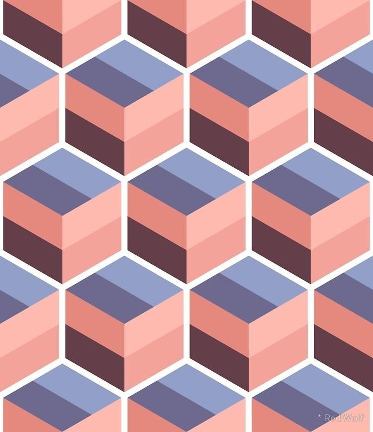 Geometric Pattern: Cube Stripe - red_wolf | ello