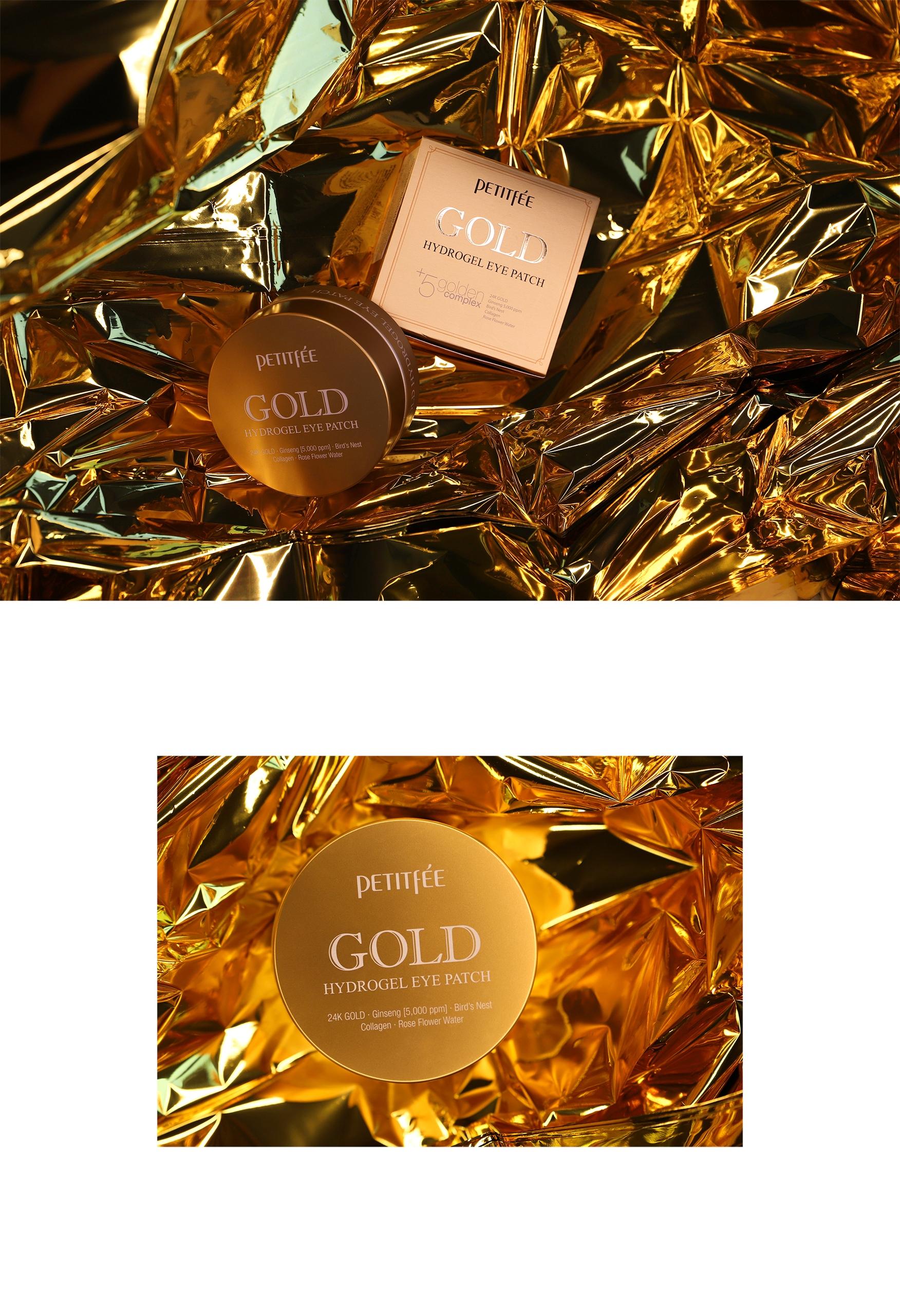 Obraz przedstawia dwa zdjęcia kosmetyku leżącego na złotej folii.