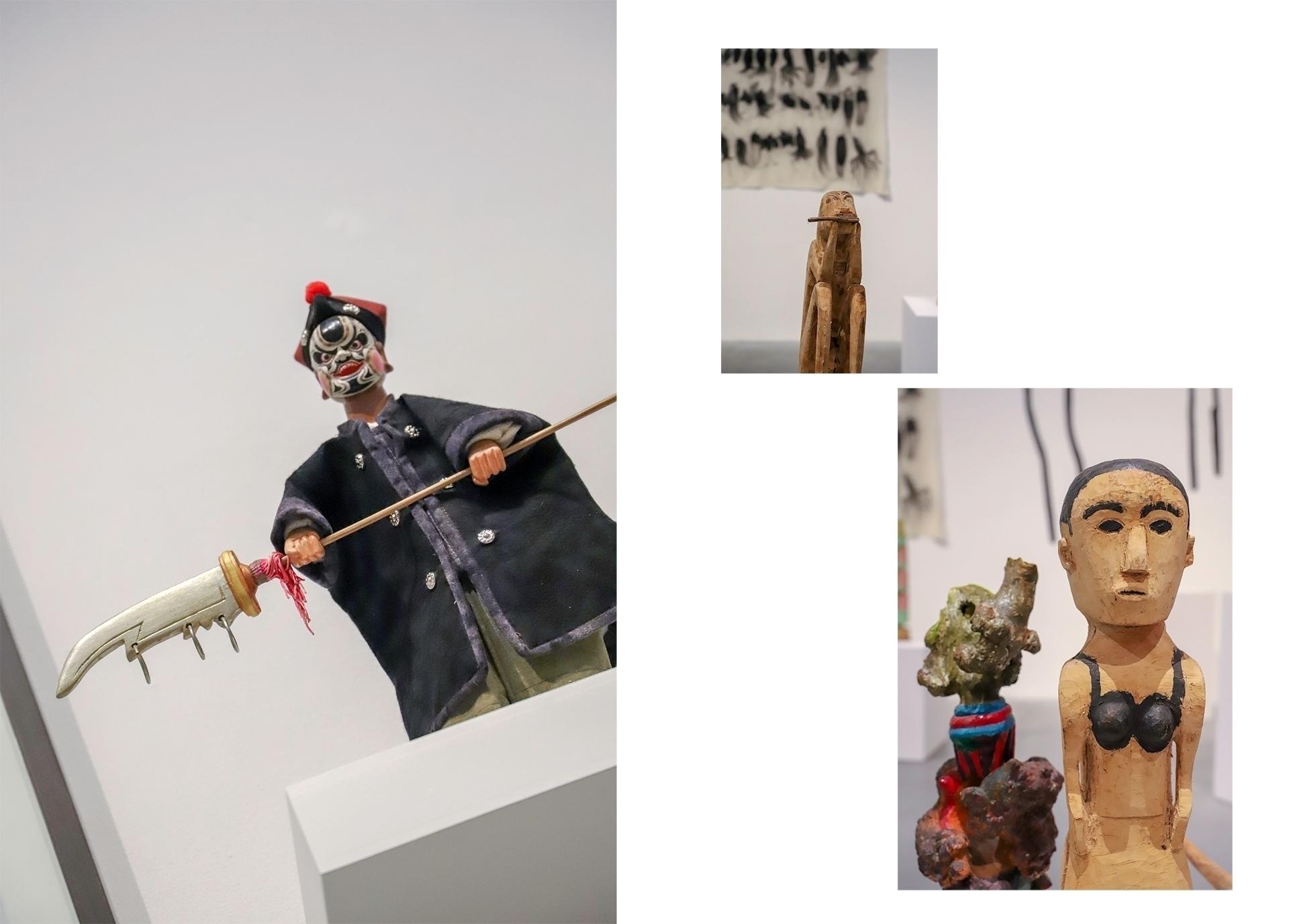 Obraz przedstawia trzy zdjęcia rytualnych figurek wyrzeźbionych w drewnie.