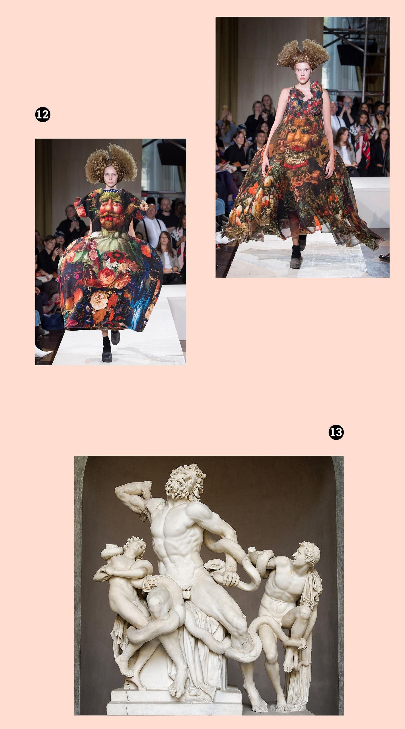 Obraz przedstawia trzy fotografie na beżowym tle. Na dwóch znajdują się postaci kobiece w kostiumach, na jednej rzeźba z marmuru.