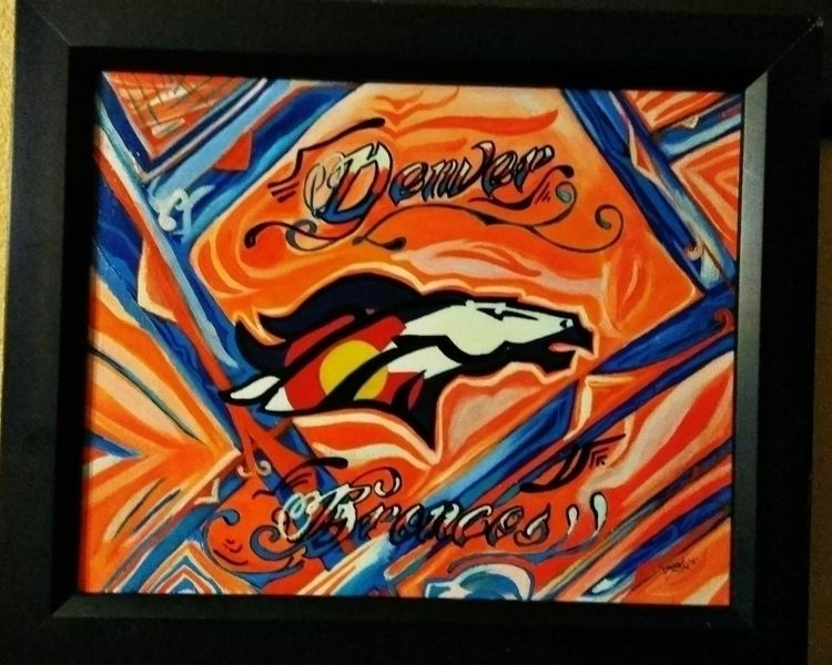 HandPainted, acrylic, DenverBroncos - msdee303 | ello