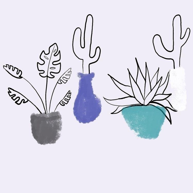 Blue plants  - blue, cactus, drawplants - efstathia_ | ello