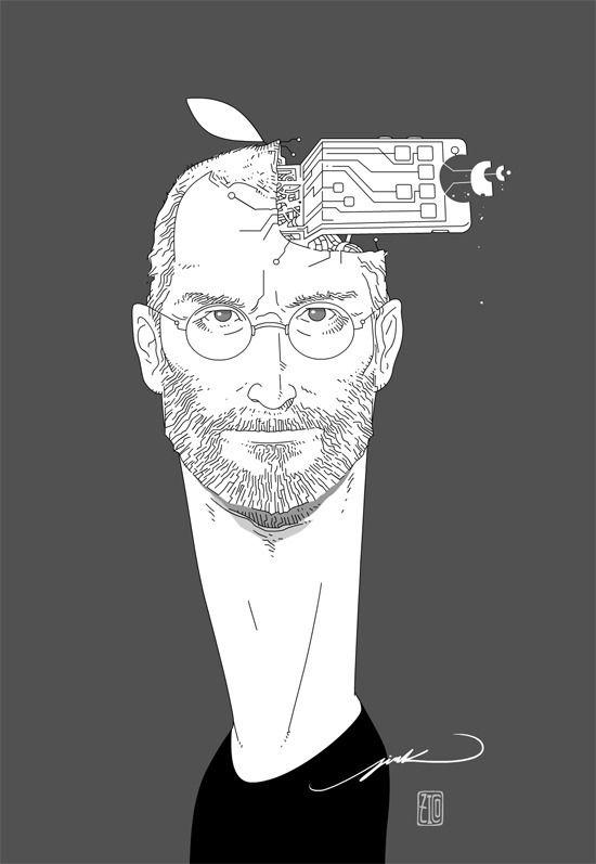 Steve Jobs - illust, SteveJobs, crazyhead - cyberzico   ello