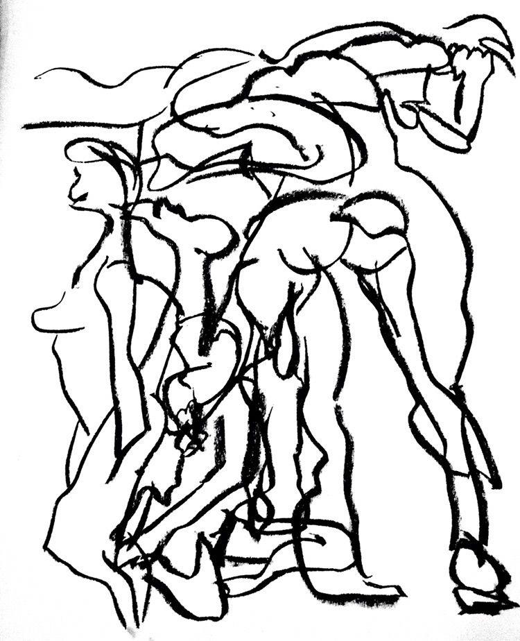 5 15 gesture drawings - charcoal - kr-lebeaulemieux | ello