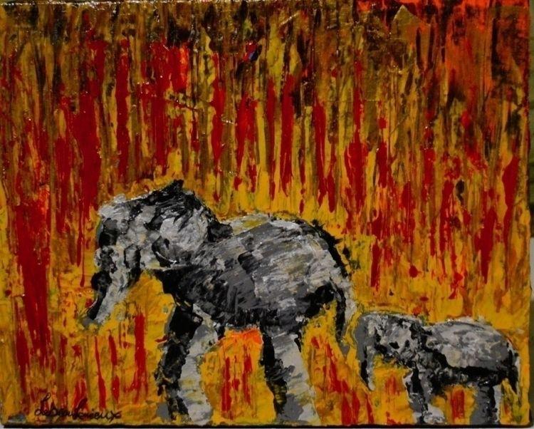 Elephants - abstract, acrylic, animals - kr-lebeaulemieux | ello
