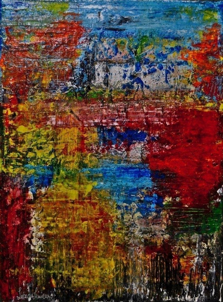 Cottage Lake - abstract, acrylic - kr-lebeaulemieux | ello