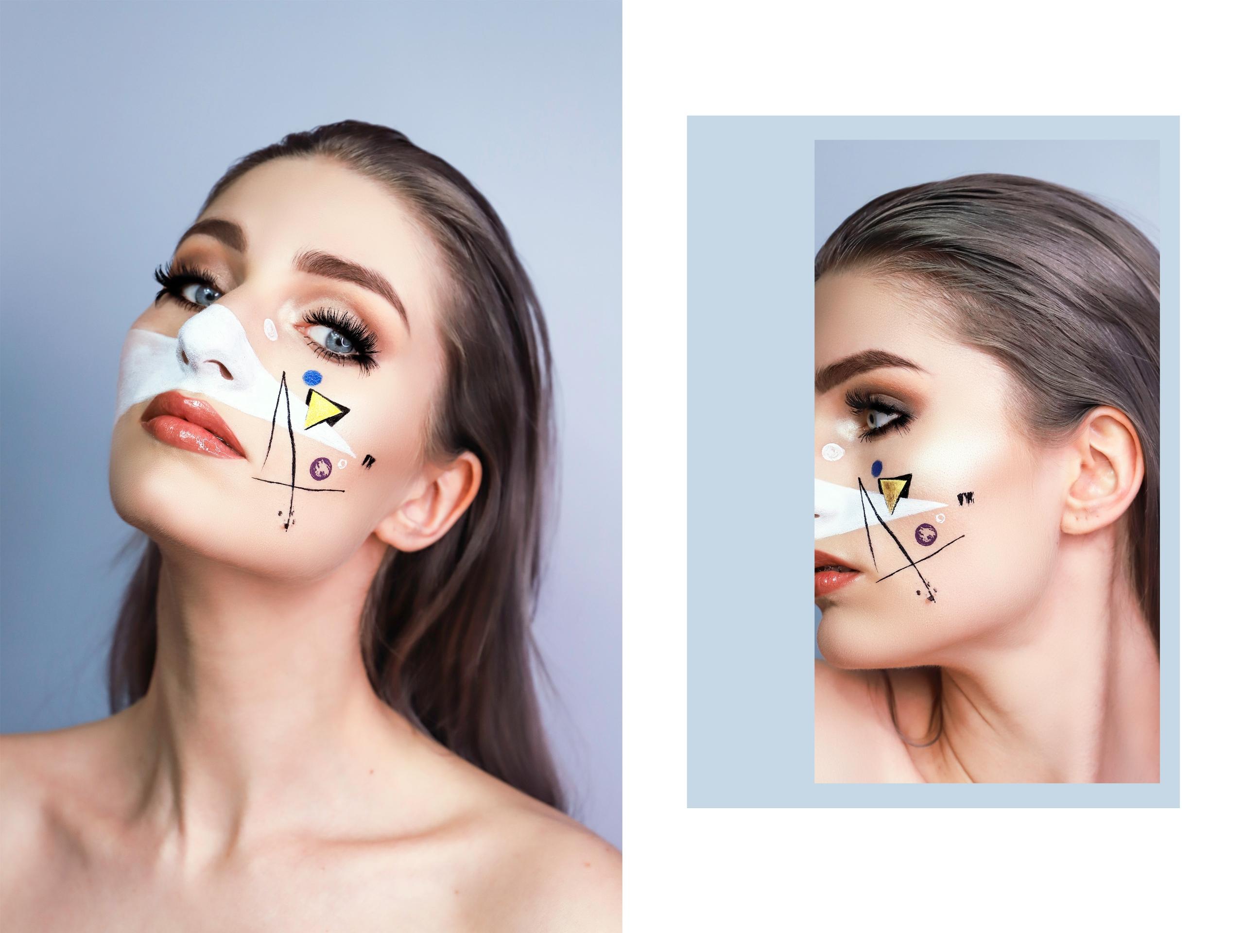 Obraz przedstawia dwie fotografie twarzy kobiety w artystycznym makijażu na szarym tle.