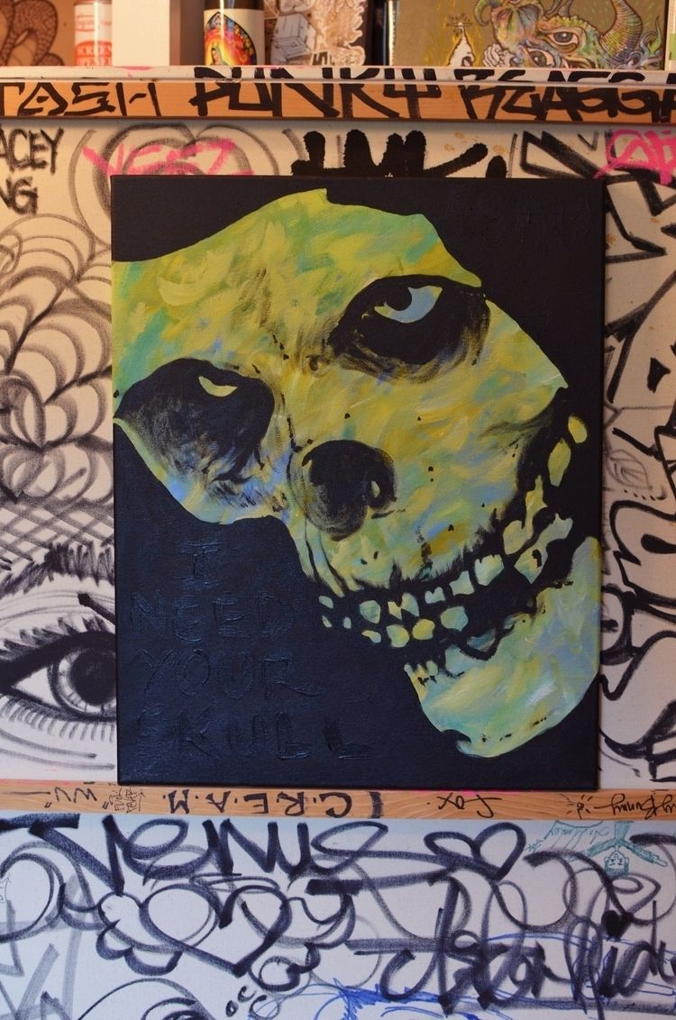 16x20in Skull' Acrylic canvas - esau - royesauluna | ello