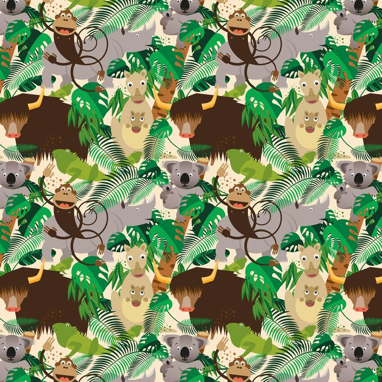 Fabric Pattern Jungle Animals - spoonflower - piakolle | ello