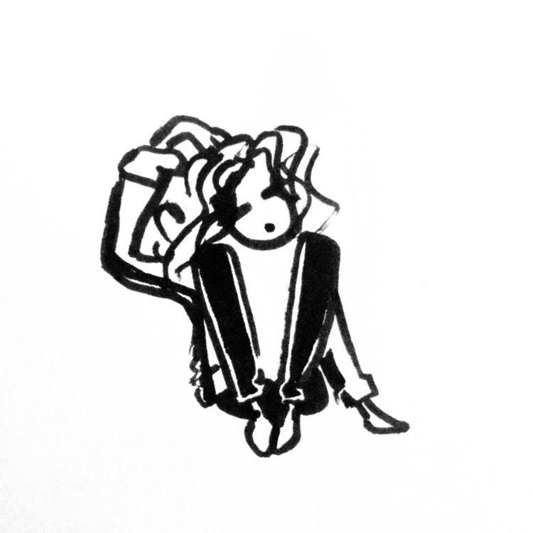 face - illustration, blackwork, marker - s-d-c | ello