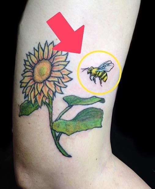 Added cute bee sunflower tattoo - yankeedoodlezart | ello