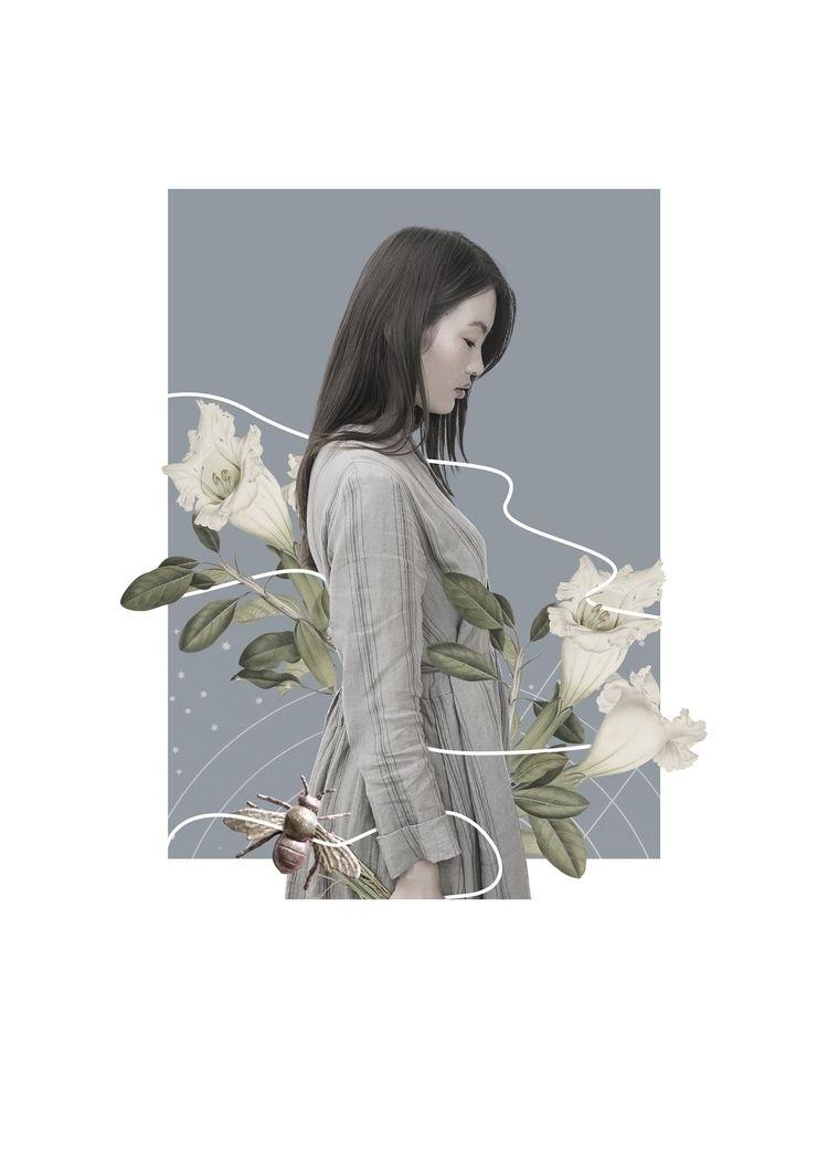 collage, woman, blue, mood, digitalcollage - olaszatk | ello