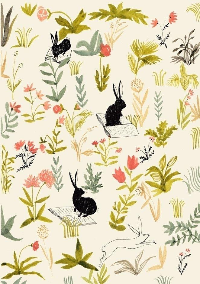 Black rabbits, mixed media pape - spoto | ello