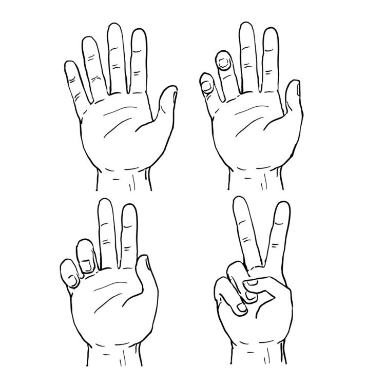 Victory Peace Hand Sign Drawing - patrimonio | ello