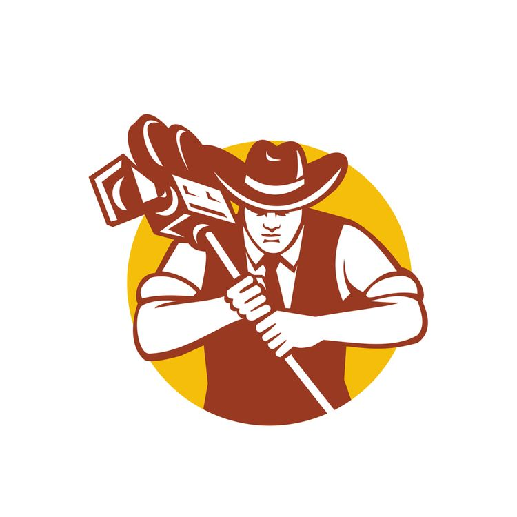 Cowboy Camera Operator Mascot - patrimonio - patrimonio   ello