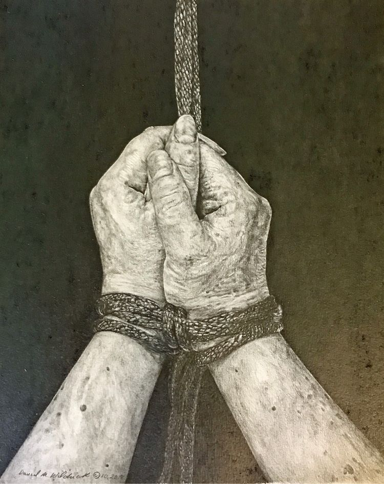 Wrists bound rope drawing. phot - trasevad42 | ello