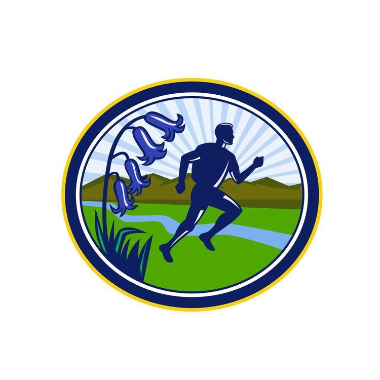 Cross Country Runner Oval Retro - patrimonio   ello