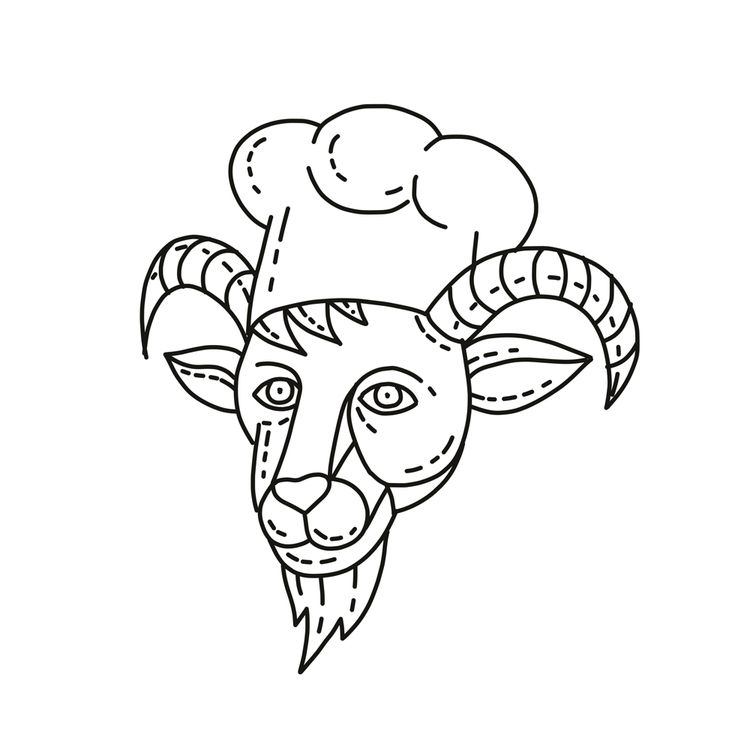 Goat Chef Cook Baker Mono Line - patrimonio | ello