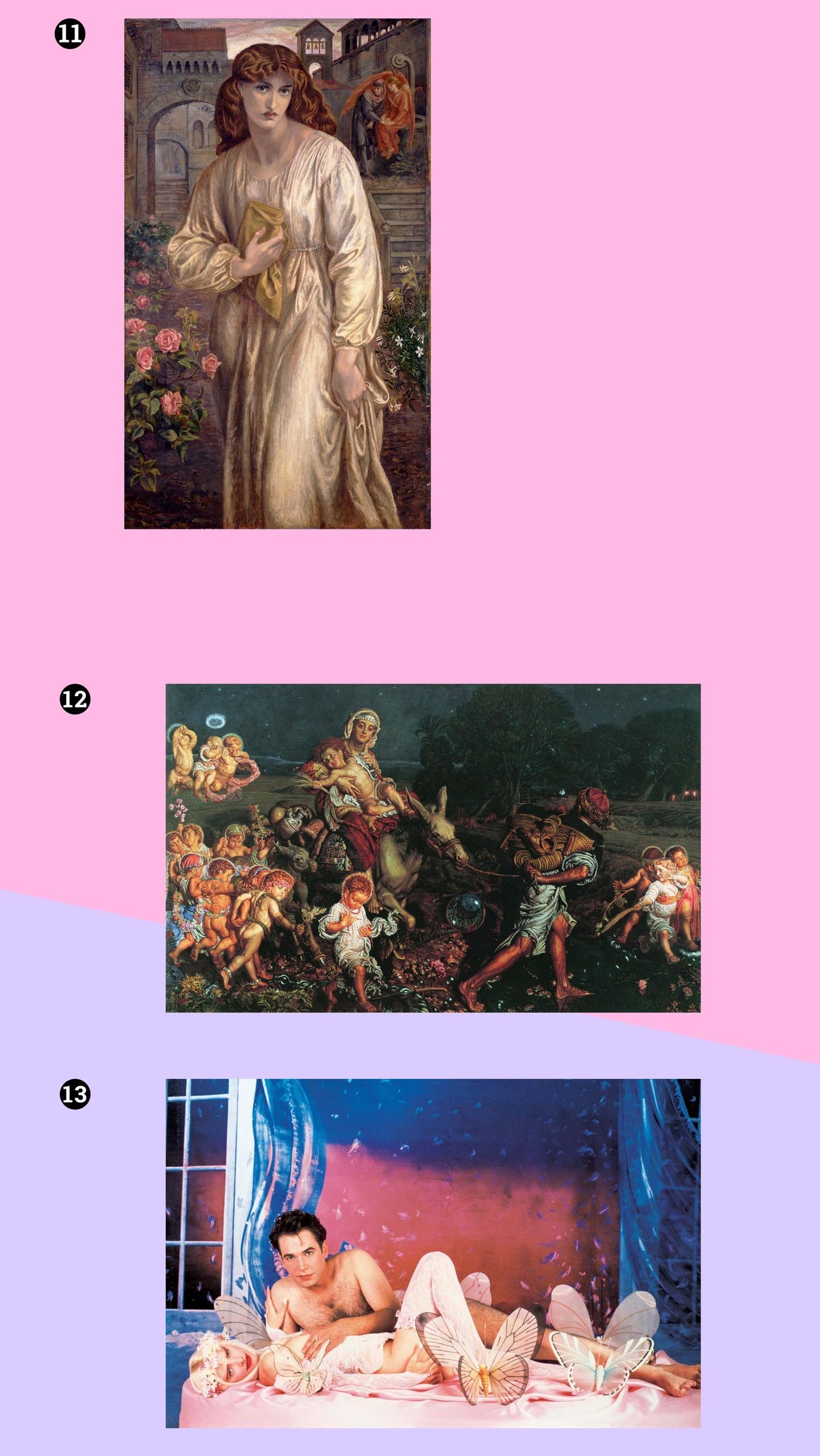 Obraz przedstawia trzy fotografie. Są to dzieła artystów z różnych okresów. Całość na różowo-fioletowym tle.