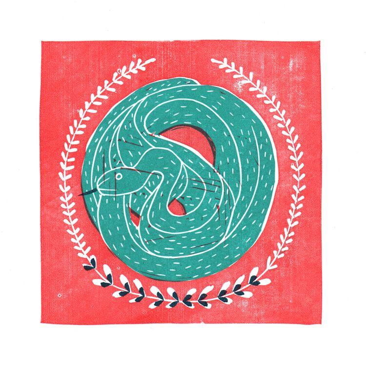 SNAKE. Stampprint - handcarvedstamp - studioferweda | ello