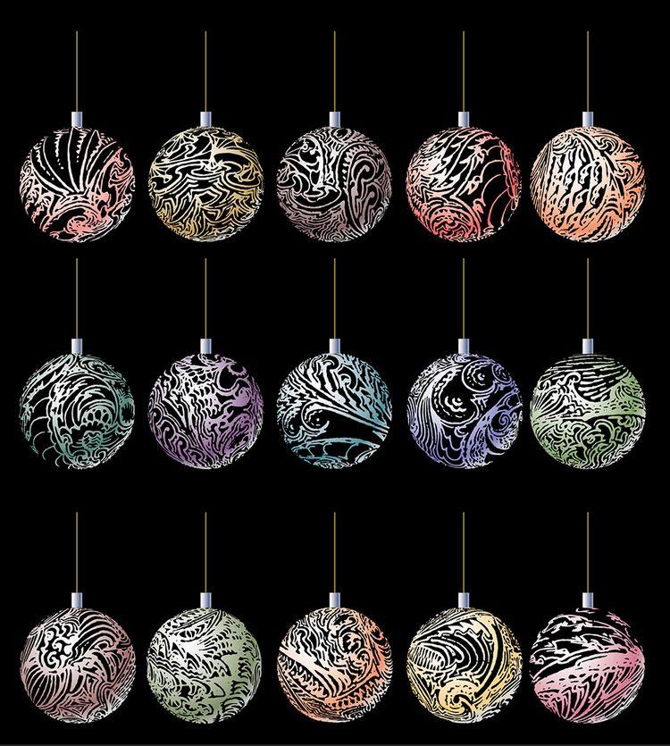 Xmas balls, hand drawn vintage  - grabbo   ello