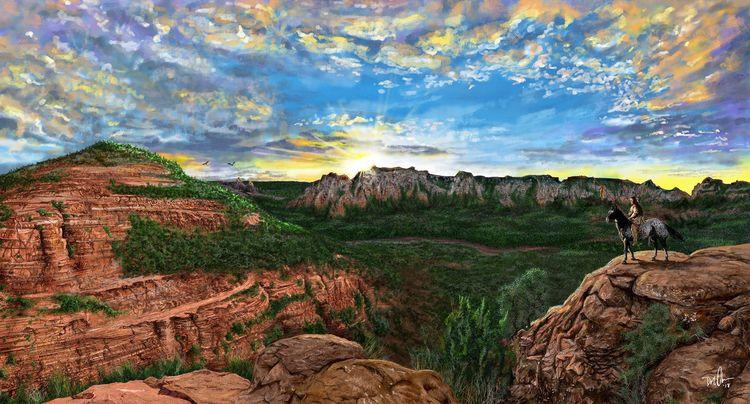 Sunrise Mesa - sedonaarizona, digitalpainting - donolea | ello