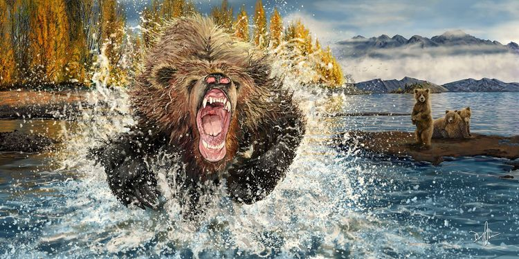 Mama Grizzly - digitalpainting, grizzlybears - donolea | ello