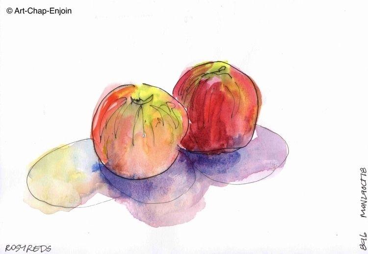 896 - Rosy reds Keeping sketch  - artchapenjoin | ello