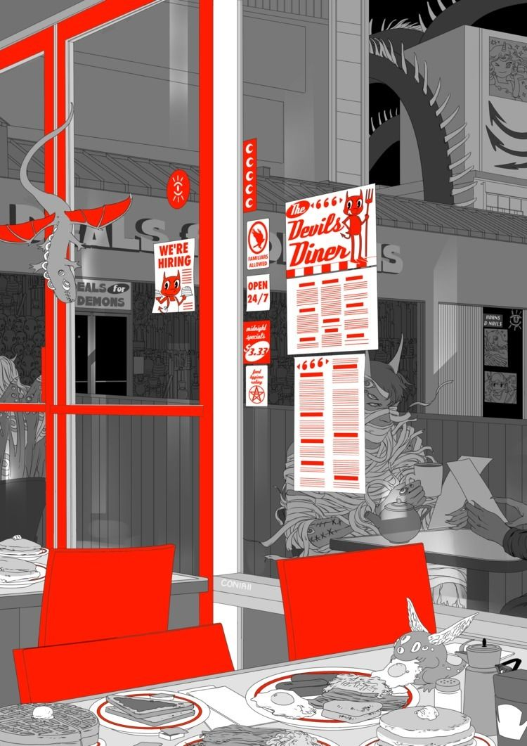 Diners, Drive-ins Demons - illustration - coniaii | ello