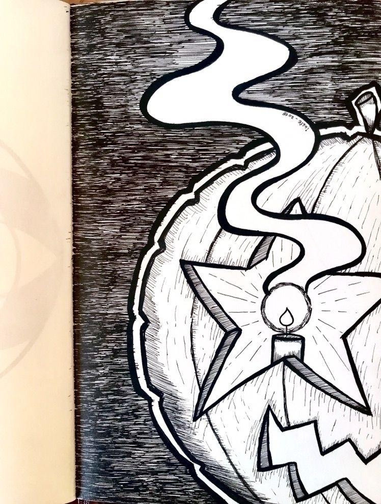 day. Halloween Pumpkin eye - Inktober2018. - iggienopop   ello