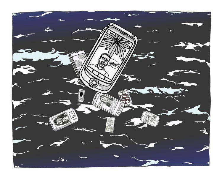 Phones Sea - illustration, doodle - hichrisj | ello