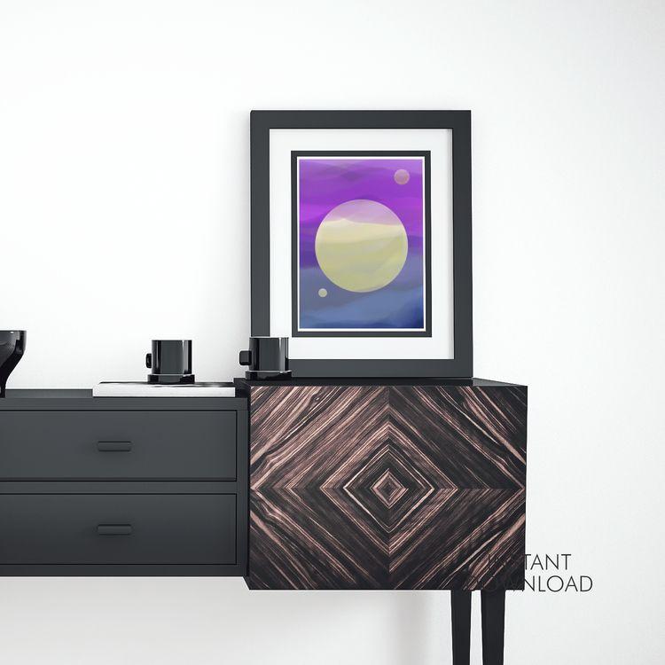 Yellow planets abstract wall ar - artsbynaty | ello