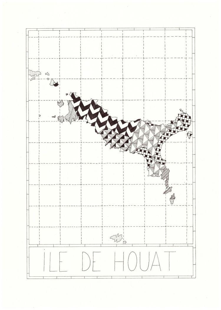 Ile de houat carte dessinée. 21 - bendessins | ello
