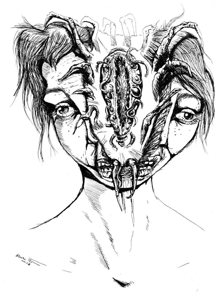 Thinking parasites - art, darkart - nikita_r | ello