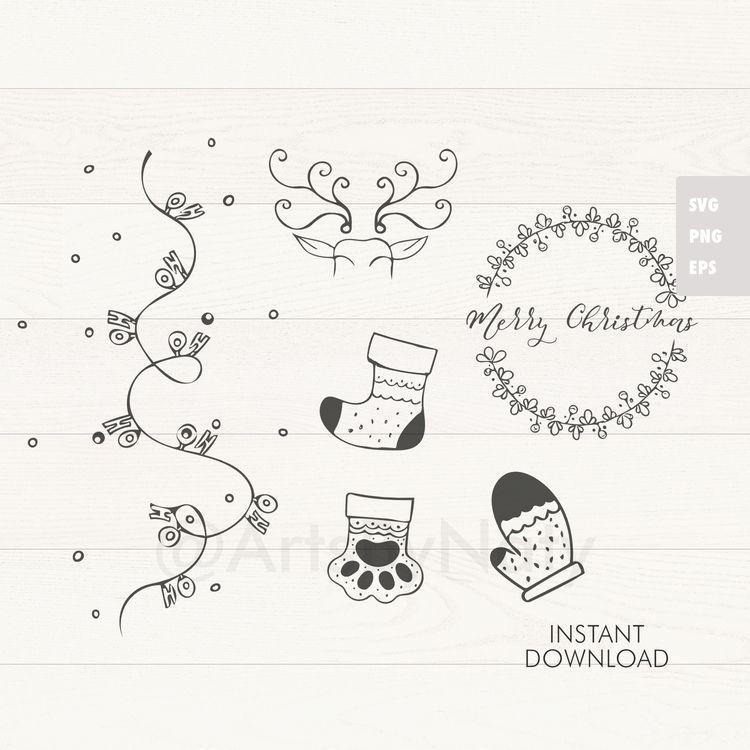 SVG Christmas Bundle. Hand draw - artsbynaty | ello