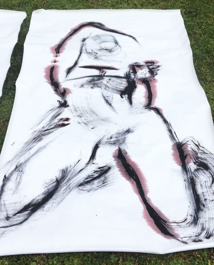 broom paintings ` roughly 7 ft  - blflood   ello
