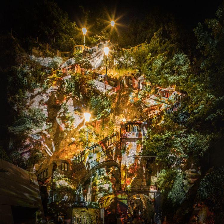 Schloßbergplatz night, staircas - stephanepictures | ello