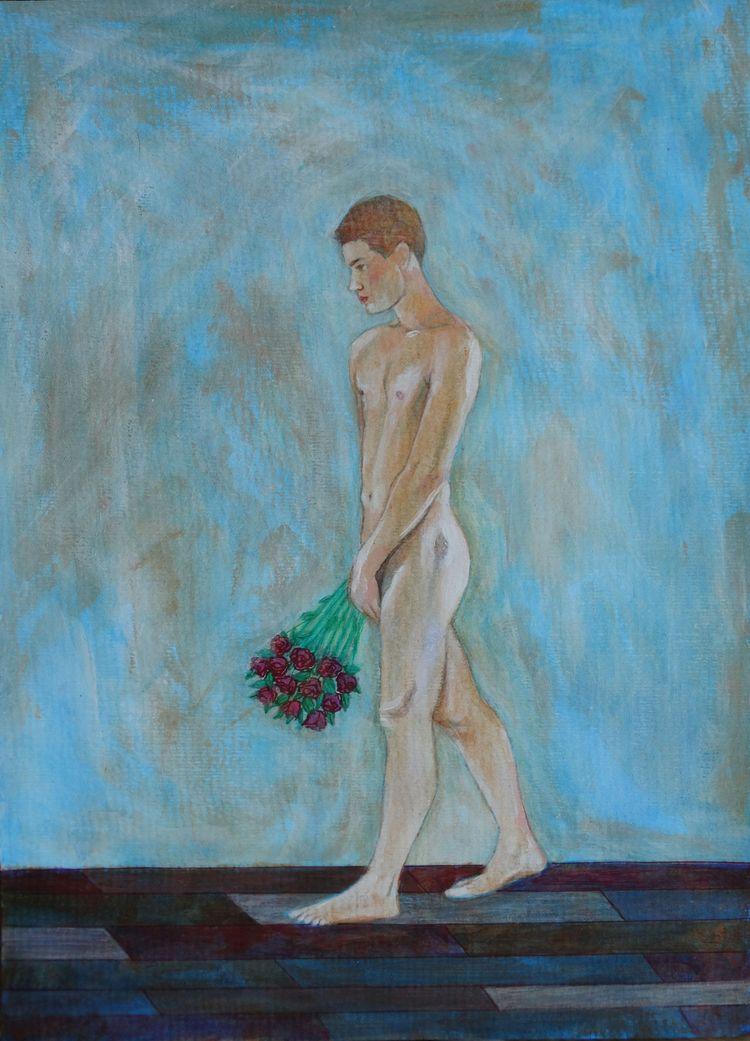 Male Nude 14 Acrylic Paper 29 c - loic-le-phoque-fringant | ello